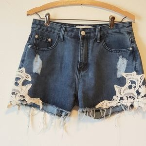 Ladies  Distressed denim cut offs shorts